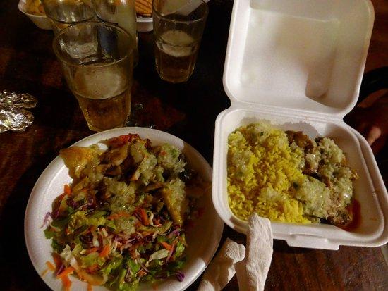 Gros Islet, Sta. Lucía: lambi grillé