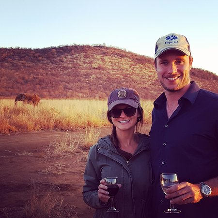 Impodimo Game Lodge: Happy Hour in Madikwe - yes, that is an elephant strolling past us