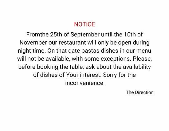 Pizza Y Pasta : Notice (aviso en inglés)