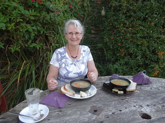Cenarth, UK: Vegetable soup with bread and cheese