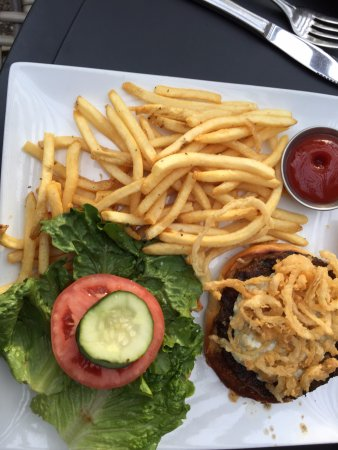 Hudson, WI: BLACK AND BLUE HAMBURGER WITH FRIES