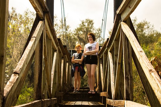 Bowling Green, FL: Swinging bridge over creek