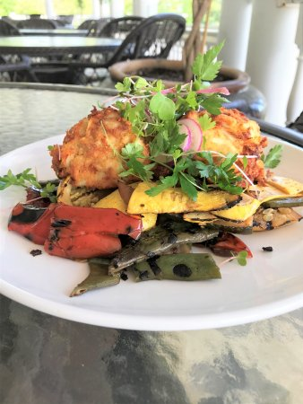 Long Neck, DE: Crab Cakes with summer veggies.