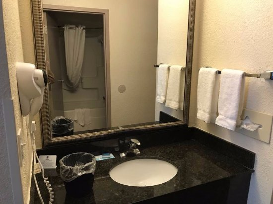 Elyria, OH: sink nice size and across from the bathroom, shower head many speeds, easy in and out of tub