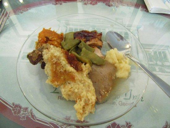 Social Circle, GA: My tiny salad plate! Cornbread dressing, green beans, salmon, swt pot, mashed pot, 1 liver