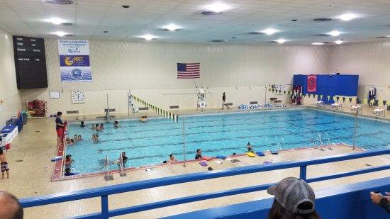 Hazen Pool: Swim lessons, photo taken from the mezzanine