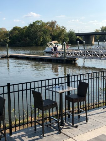 Ridley Park, PA: A view of the boat slip from the patio.