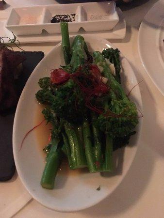 Cupertino, CA: Sautéed Broccolini: garlic, chili, roasted tomato, pecorino