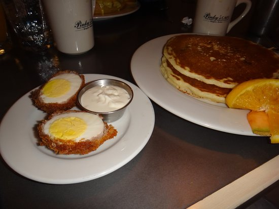 Pinky's Cafe: Scotch eggs with blueberry butter milk pancakes short stack