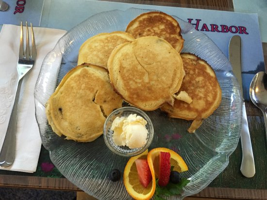 Seal Harbor, ME: Silver Dollar Pancakes containing Maine Blueberries & Pecans