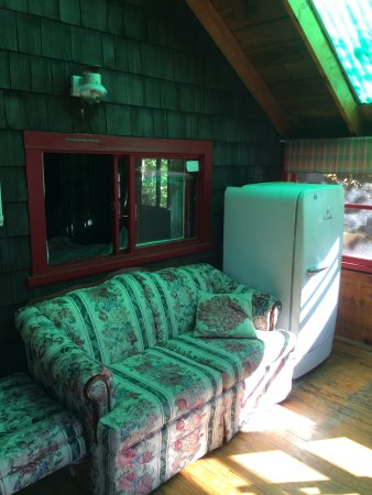 Conway, NH: Picture of fridge on porch. Table to right. Couch was comfy. Window to cabin.