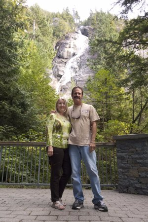 Squamish, แคนาดา: My wife and I with the falls behind us.