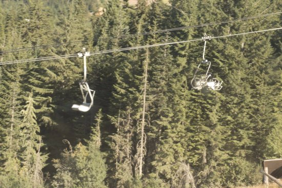 Whistler Mountain Bike Park: If you look closely; you can see a bike going up the lift chair.