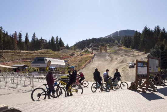 Whistler Mountain Bike Park: See the bikers and the mountain trails in the background.