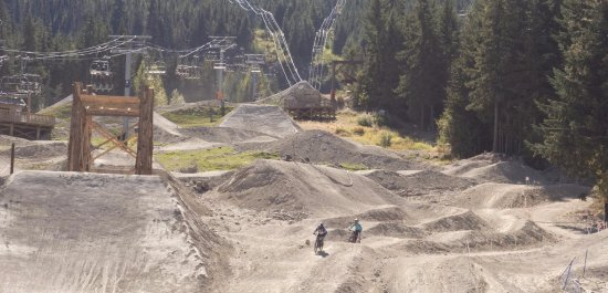 Whistler Mountain Bike Park: You can come down to this area or go around to the left.