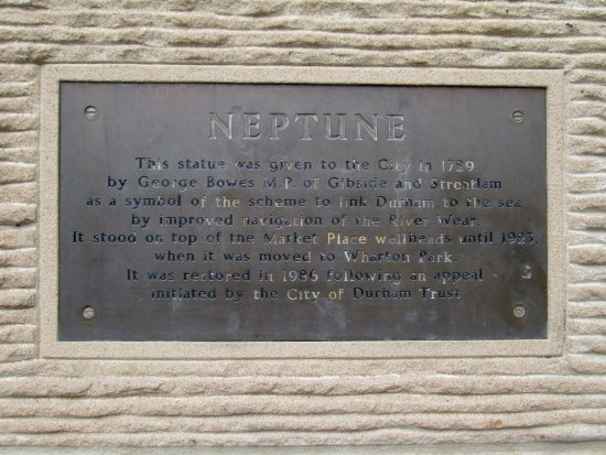 Neptune Information Plaque Picture Of Neptune Statue Durham