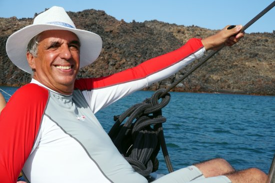 Santorini Sailing Center : A few moments are commemorated by the wonderful sailor from the catamaran