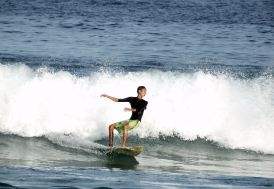 Pulau Simeulue, Indonesia: A local surfer showed his ability to surf
