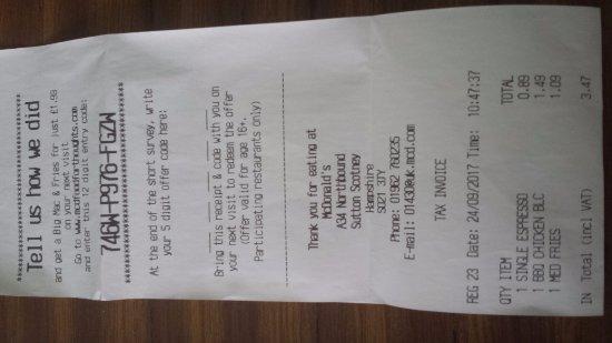 Sutton Scotney, UK: till receipt