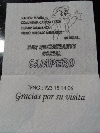 Casa Rural Restaurante Campero: Servilleta