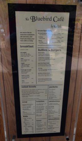 Bluebird Cafe Takeout Menu