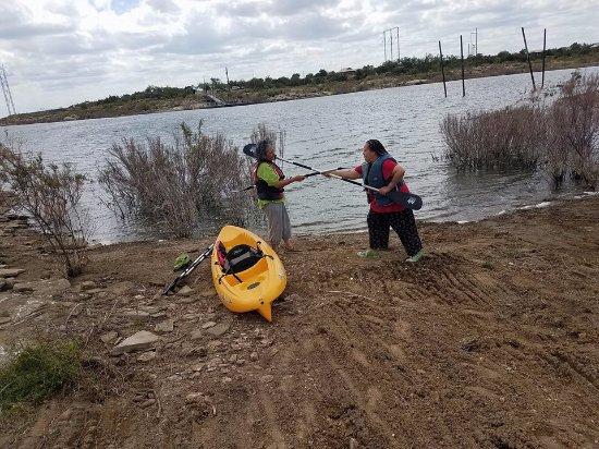 Colorado City, TX: pretend battle over a Kayak.. who will win?