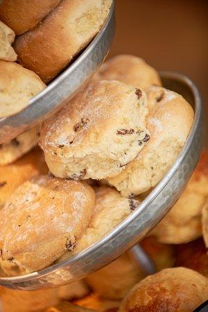 Dalkeith, UK: Freshly-baked scones at Restoration Yard's Coffee Bar.