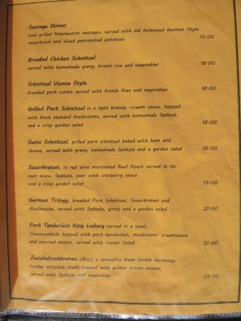 Old Black Forest Restaurant: Menu
