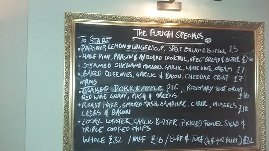 Scalby, UK: The Plough Specials Board Sep 18th 2017
