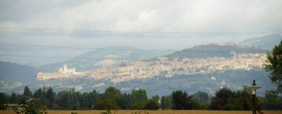Cannara, Italia: Veduta di Assisi dal ristorante