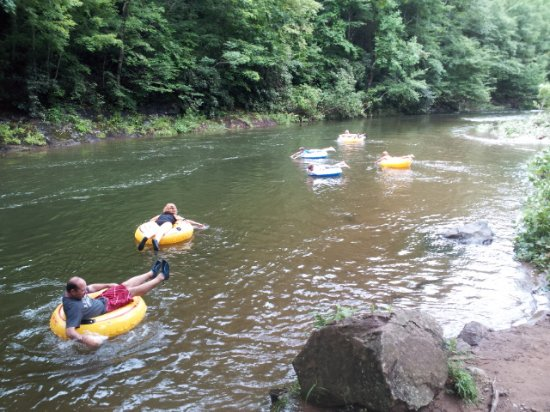 Burnsville, NC: Casual river tubing on the Cane River