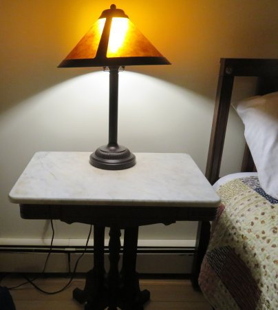 Fort Edward, NY: another marble top and retro lamp.