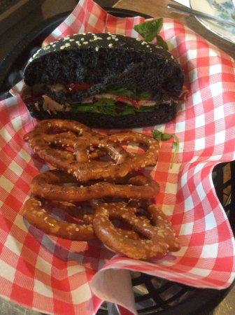 Callander, UK: Black bun served with pretzels.