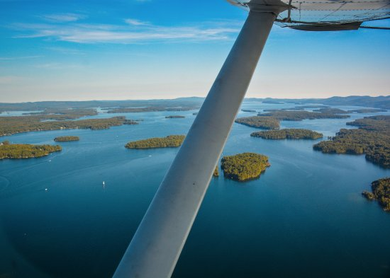 Lakes Region Seaplane Services: Aerial view looking south down Lake Winnipesaukee.