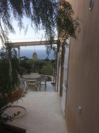 Platrithias, Greece: View towards Hot Tub and Lefkas