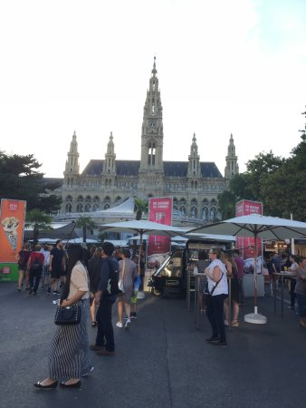 Rathausplatz: Food vendors set up during the Film Festival in the plaza