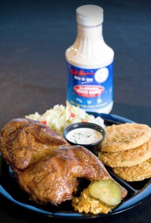 Dothan, AL: Bar-b-que chicken with fried green tomatoes and coleslaw.
