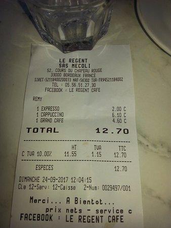 Le Régent : the receipt