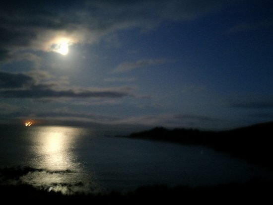 Coverack, UK: View of the Celtic sea after dusk