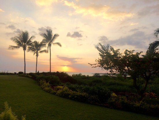 Kealakekua Bay Bed & Breakfast: View of sunset from our room over looking the grounds and Kealakekua Bay