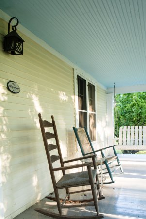 Addison, VT: Front Porch with Rocking Chairs and Swing