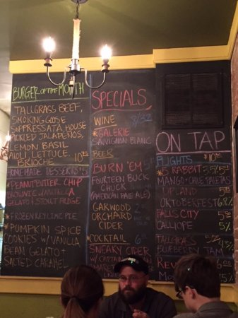Chesterton, IN: menu wall