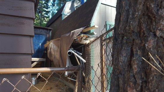 Zephyr Cove, NV: Trash? stored behind housing unit.