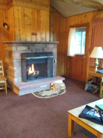 YMCA of the Rockies: Fireplace in living room.