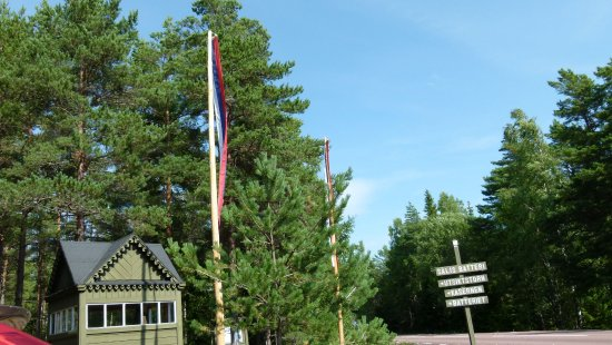 "Aland Island, Finland: ""reception"" to the batteri and russian flags."