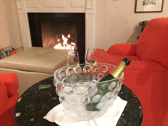 White Barn Inn: They gifted us champagne!