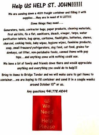Bridge Tender Inn: Help Us Help St. John!!