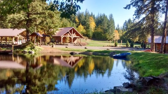 View of Pond, Pavilion and Straw Bale Lodge at Vernonia Springs