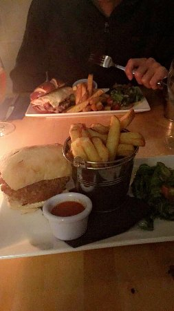 Whiting Bay, UK: Breaded spicy five-bean burger