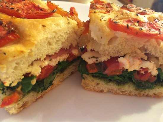 Veggie Sandwich With Goat Cheese On Focaccia Bread Picture Of Pronto Italian Street Food Santa Teresa Tripadvisor